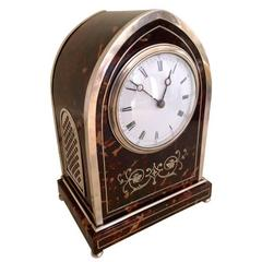 English Gothic Silver Mounted, Tortoiseshell Clock, Dated 1906