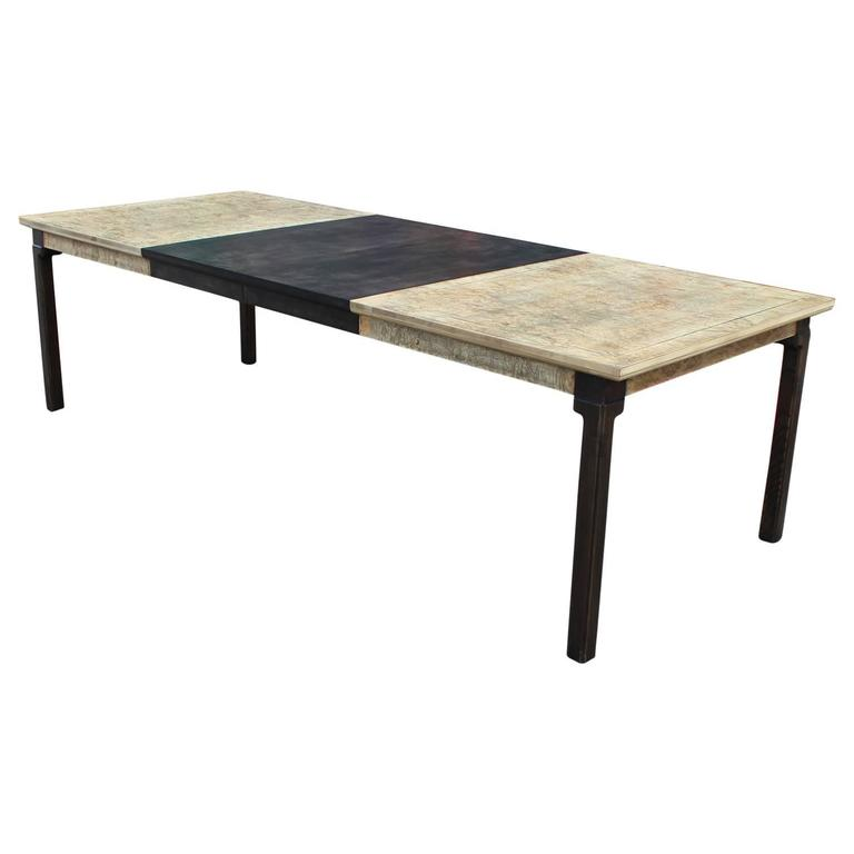 Monumental modern two tone burl wood rectangular dining for 2 tone dining room tables