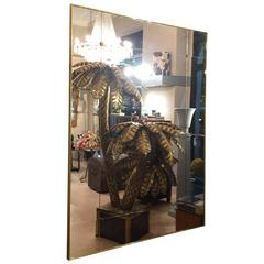 Early 20th Century Style Panelled Made to Measure Mirror Brass Frame