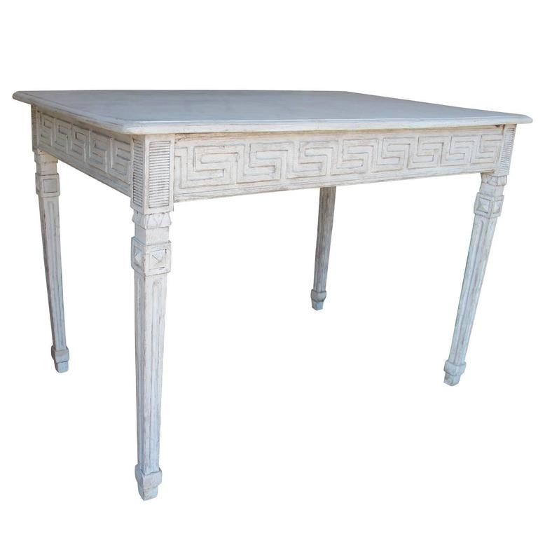 Swedish Gustavian Painted Writing Desk with Drawer or Vanity Console Table For Sale
