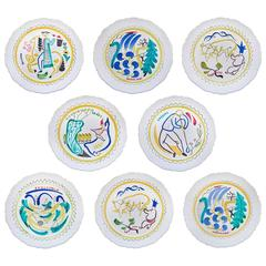 Set of Nine Hand-Painted Faience Dinner Plates by Stig Lindberg