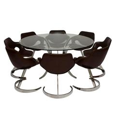 Scimitar Dining Table and Chairs by Boris Tabacoff Vintage, 1970s