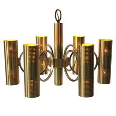 Sciolari Six-Arm Twelve-Light All Brass Chandelier, 1970s, Lightolier USA