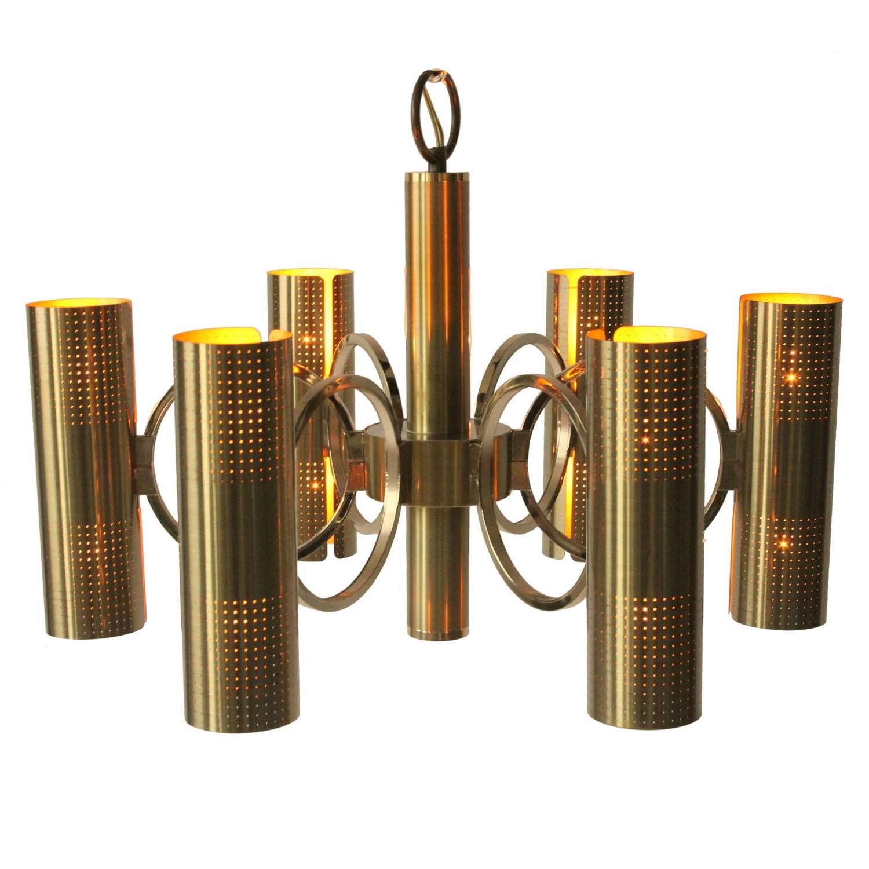 Lightolier Ring Chandelier At 1stdibs: Sciolari Six-Arm Twelve-Light All Brass Chandelier, 1970s