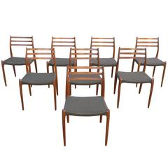 Set of Eight Dining Chairs in dark Teak, Model 78 by Niels O. Møller