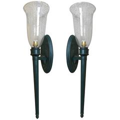 Style of Andre Arbus Pair of Chic 1940s Sconces with a Green Antic Patina