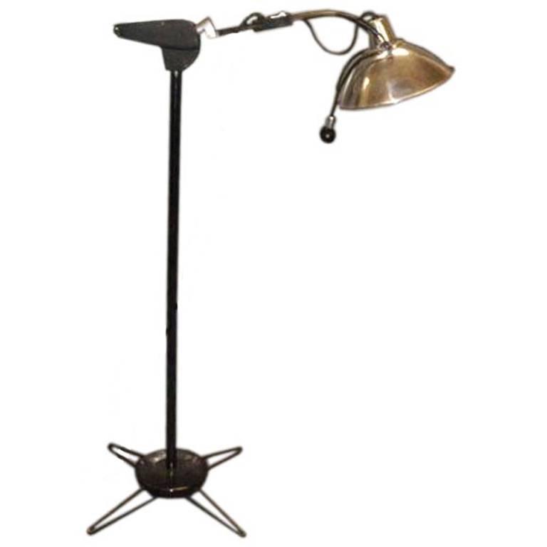 Vintage 1930s Doctor's Floor Lamp in Chrome & Black Metal For Sale