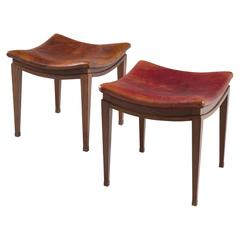 Frits Henningsen Pair of Stools in Mahogany and Patinated Leather
