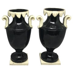 Pair of Neoclassical Black and White Giustiniani Urns