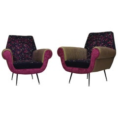 Pair of MidCentury Wool Silk and Velvet Italian Armchairs, 1950