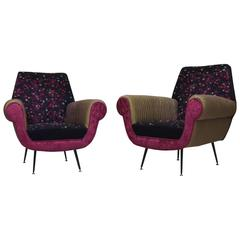 Pair of 1950 Wool Silk and Velvet Italian Mid-Century Armchairs