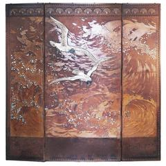 Rare Three-Panel Antique Leather Screen, France, 1890-1910