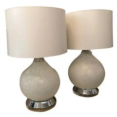 Pair of White Murano Glass and Chrome Table Lamps by Vistosi of Italy