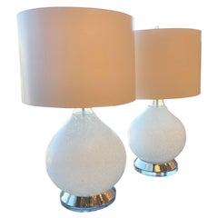 Pr Mid Century Modern Italian Vistosi White Murano Glass, Chrome & Lucite Lamps