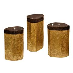 Group of Three Dark Rock Crystal Quartz Side Tables