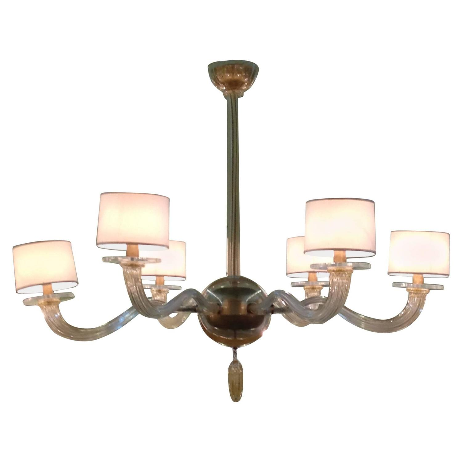 Barbara Barry For Baker Signature Six Arm Murano Chandelier At 1stdibs