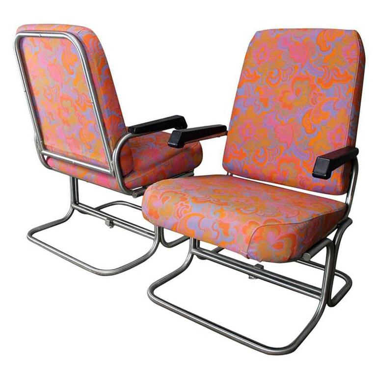 Vintage Mid Century Modern Pullman Train Car Folding Lounge Chairs A Pair For