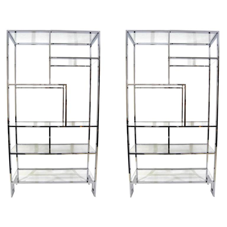 Pair of Milo Baughman Chrome and Glass Etageres For Sale