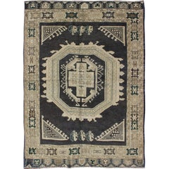 Vintage Oushak Rug with Navy Blue