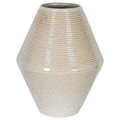 Ribbed Architectural Pottery Vase