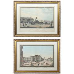 Two French Framed Engravings of Saint Petersburg and Peter the Great