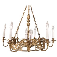 Oversized French Empire Style Bronze Figural 10-Light Chandelier