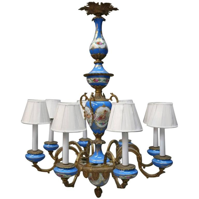 Gilt bronze eight light chandelier traditional sevres style porcelain inserts for sale at 1stdibs - Popular chandelier styles ...