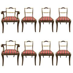 Set of Eight Mahogany Gilt Regency Style Dining Chairs