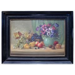 Oil on Board Continental School Floral and Fruit Still Life, 20th Century
