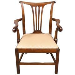 George III Carved Mahogany Desk Chair