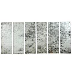 """Anne Peabody's """"Stream,"""" a Six-Panel Glass Drawing"""