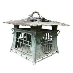 Japanese Hand made Bronze BIRD ON ROOF Lantern with Green Patina