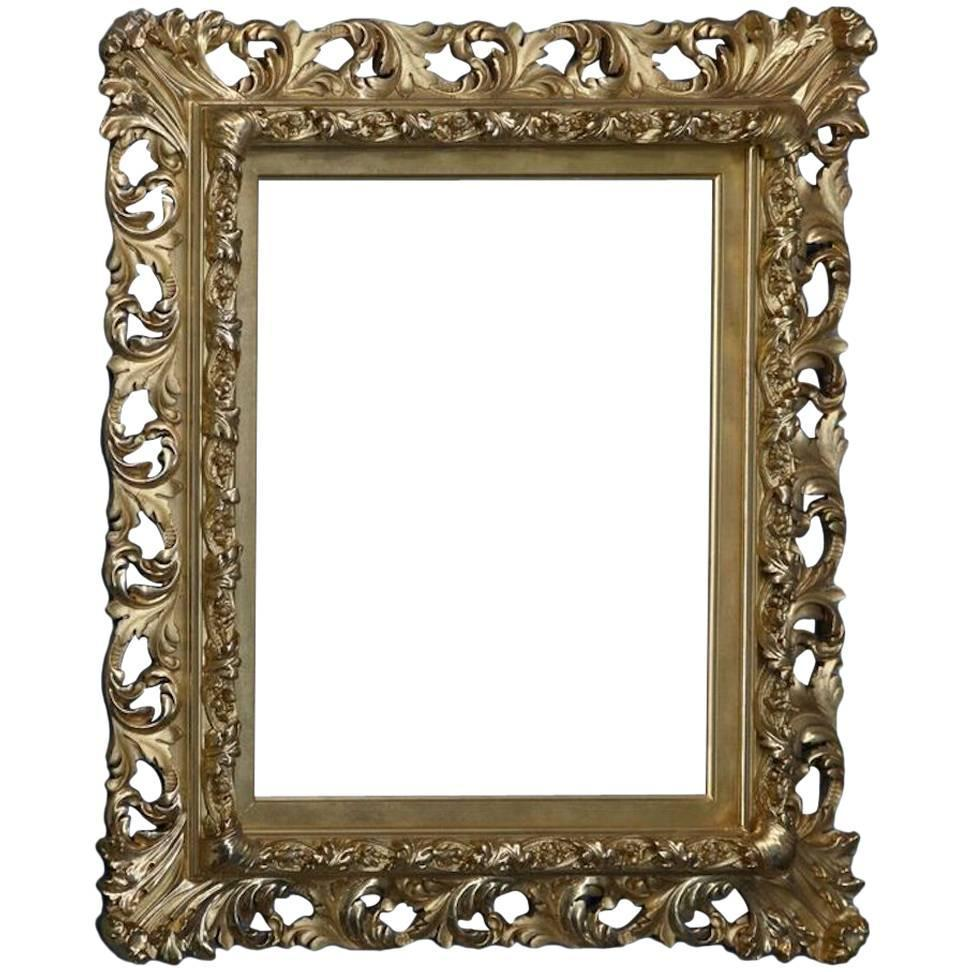 Antique french rococo 1st finish gold gilt reticulated for Rococo style frame