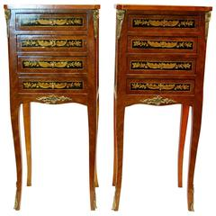 Pair of Reproduction French Style Inlaid Night Tables with Four Drawers