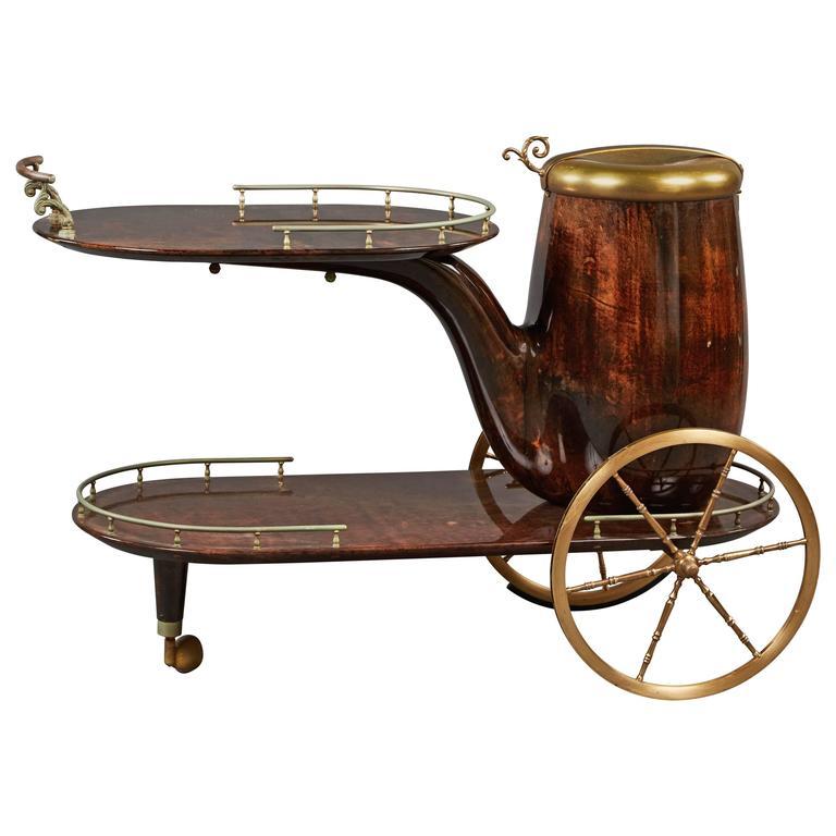 Charming Aldo Tura Bar Cart