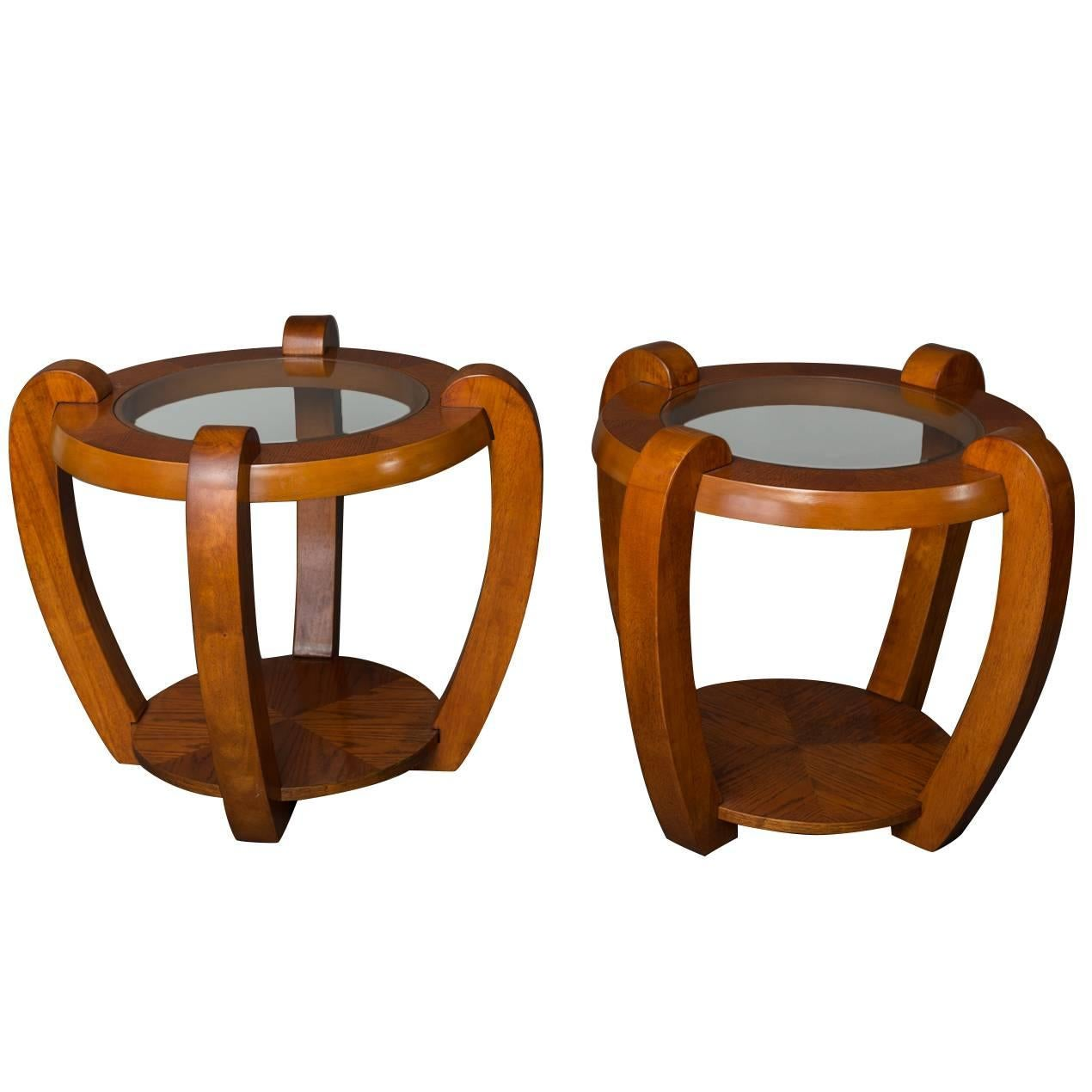 Pair of American Round Side Tables