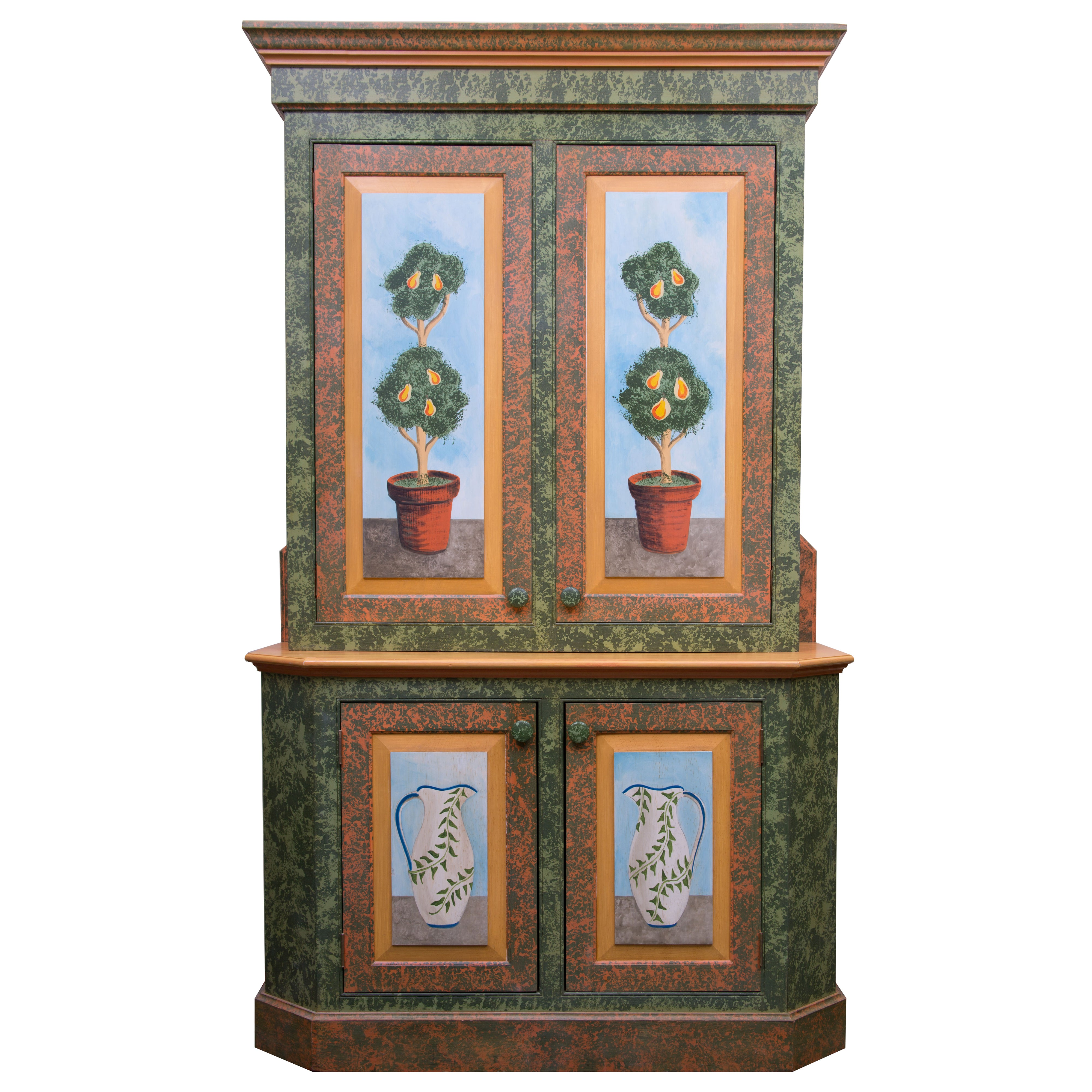 Whimsical hand painted solarium or garden room cabinet for sale at 1stdibs