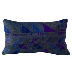 Overdyed Phulkari Lumbar Cushion in Teal Green Blue and Violet