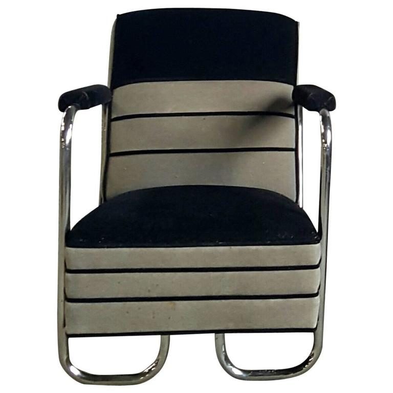 Machine Age, Art Deco Two-Tone Mohair and Chrome Lounge Chair