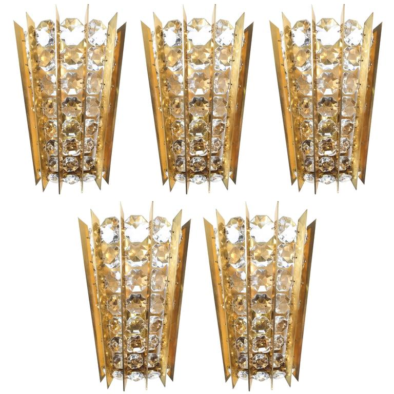Set of Five Crystal and Brass Sconces by Bakalowits & Sohne