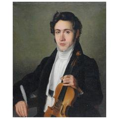 Oil Canvas Portrait Painting Niccolò Paganini with Violin, 1800