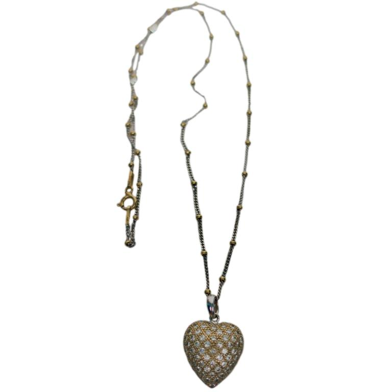 Pave Diamonds and 18-Karat Gold Pendant Heart Necklace in the Style of Cartier