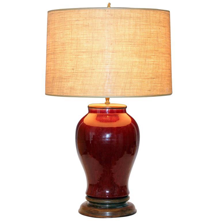 Modern Ceramic Vase Table Lamp: Antique Chinese Porcelain Oxblood Flambe Large Vase Lamp
