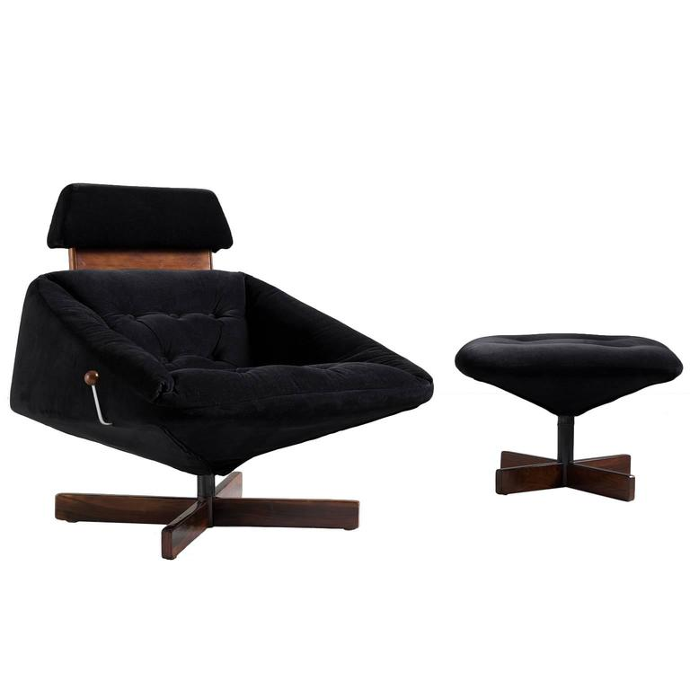Percifal Lafer Swivel Lounge Chair with Ottoman