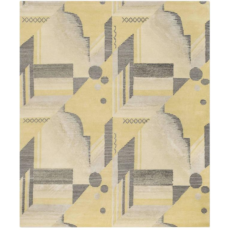'Art Deco_Lemon' Hand-Knotted Tibetan Contemporary Geometric Rug Wool & Silk
