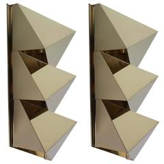 Brass Geometric Sconces