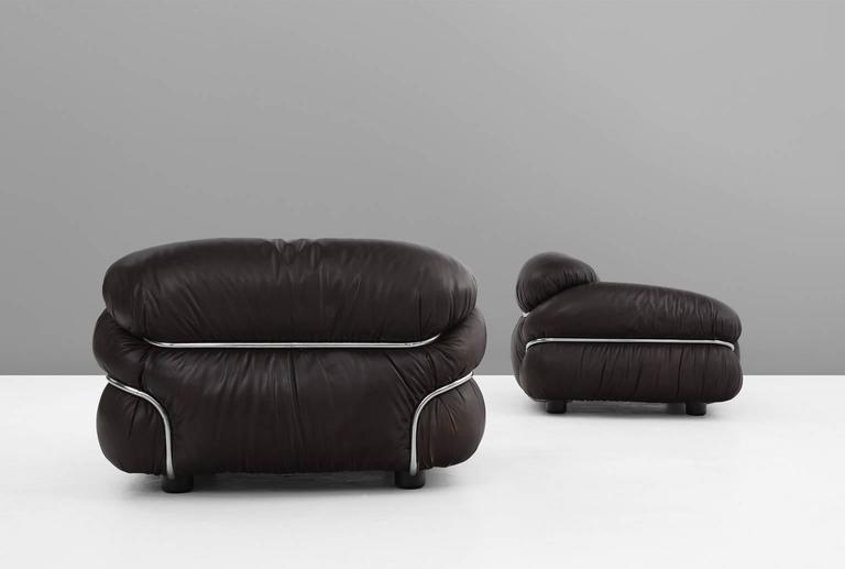 Gianfranco frattini pair of 39 sesann 39 lounge chairs for for Cassina spa meda