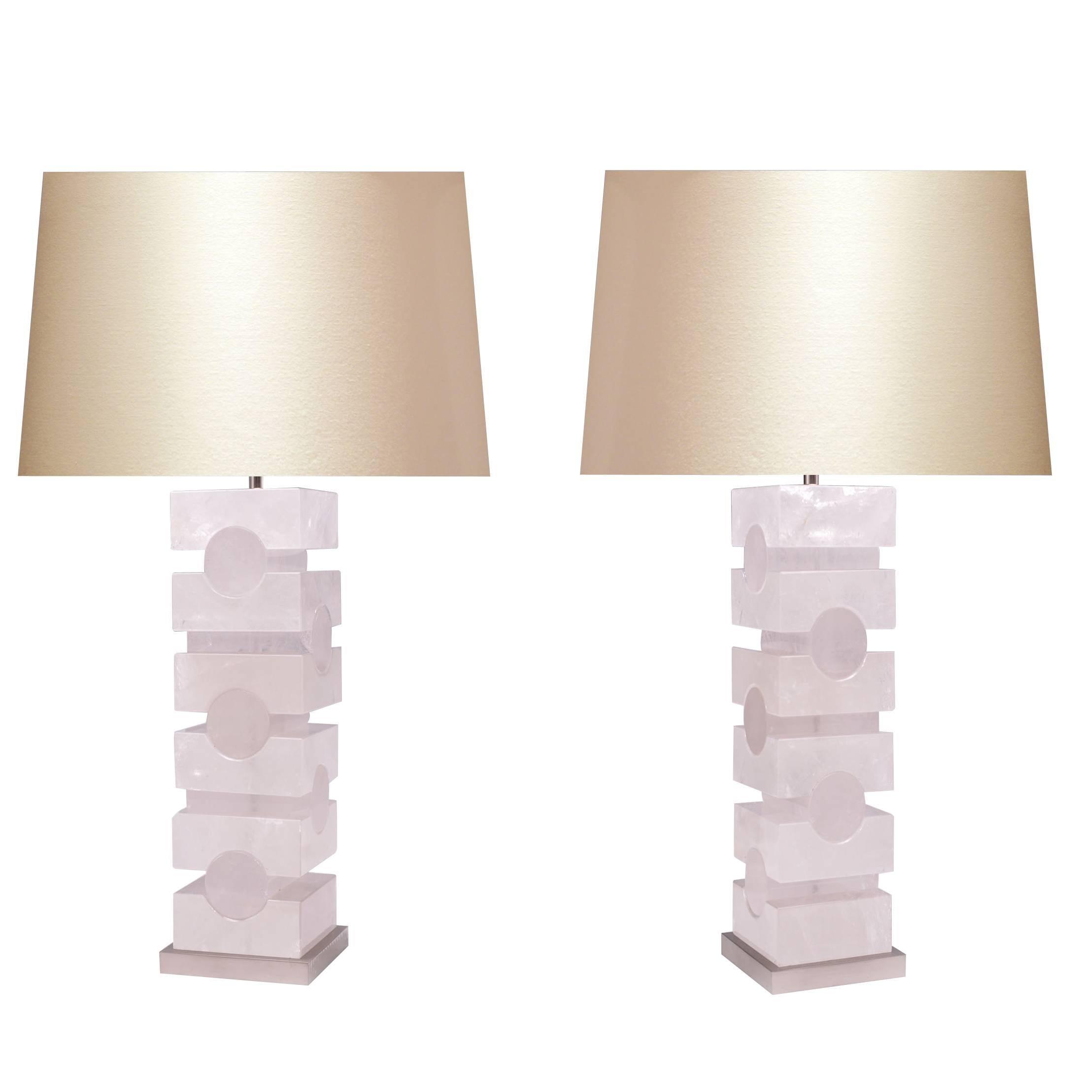 Pair of Sculptured Rock Crystal Quartz Lamps