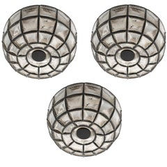 Three Limburg Flush Mount Lights Sconces, Iron Glass, 1960s