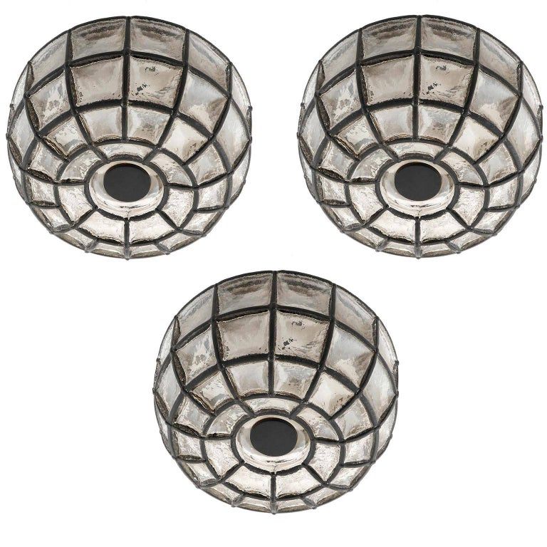 Three Limburg Flush Mount Lights Sconces, Iron Glass, 1960s